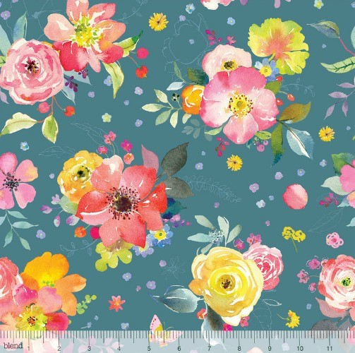 Blend Fabrics Chelsea Market, Yorkshire Blooms in Blue, Fabric Half-Yards 123.104.01.1