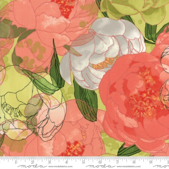 PD's Moda Collection Blushing Peonies, Peonies in Sprig, Dinner Napkin