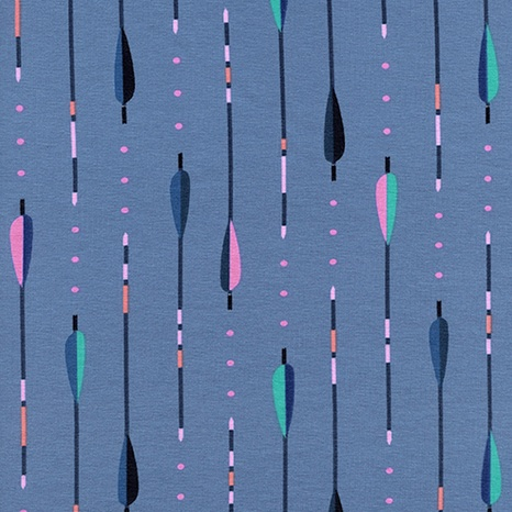 Melody Miller Dress Shop Cotton Jersey, Arrows in Periwinkle 5156-17, Fabric Half-Yards