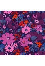 Sarah Watts Dress Shop Cotton Jersey, Bouquet in Grape 5158-27, Fabric Half-Yards