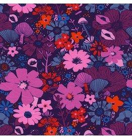 Sarah Watts Dress Shop Cotton Lightweight Jersey, Bouquet in Grape 5158-27, Fabric Half-Yards