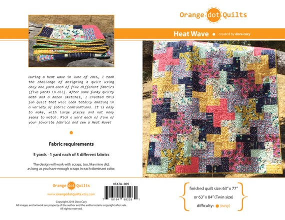Orange Dot Quilts Orange Dot Quilt's Heat Wave Pattern