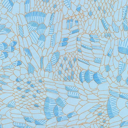 Carolyn Friedlander Gleaned, Snake in Spa Blue, Fabric Half-Yards AFR-17292-389