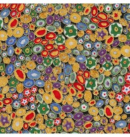Robert Kaufman Gustav Klimt, Rings in Multi, Fabric Half-Yards AFR-17183-205