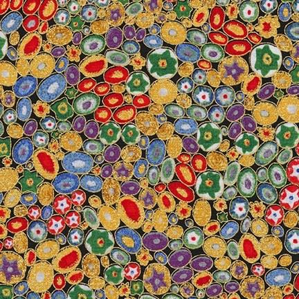 Robert Kaufman Gustav Klimt, Rings in Multi, Fabric Half-Yards AFR-17183-205