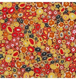 Robert Kaufman Gustav Klimt, Rings in Red, Fabric Half-Yards AFR-17183-3