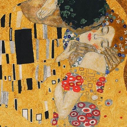 "Robert Kaufman Gustav Klimt, The Kiss, Panel in Gold, 24"" Fabric Panel"