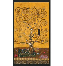 "Robert Kaufman Gustav Klimt, The Tree of Life, Panel in Gold, 24"" Fabric Panel"