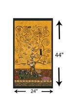 "Robert Kaufman Gustav Klimt, The Tree of Life, Panel in Gold, 24"" Fabric Panel"
