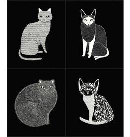"""Gingiber Catnip, Cat Panel in Black, 36"""" Fabric Panel 48230-14"""