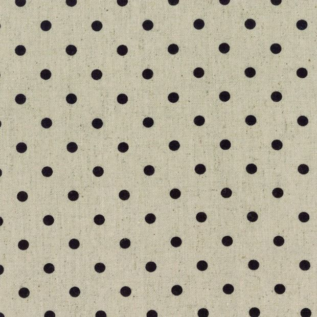 PD's Linen Blend Collection Mochi Homegrown Dot in Black on Linen, Dinner Napkin