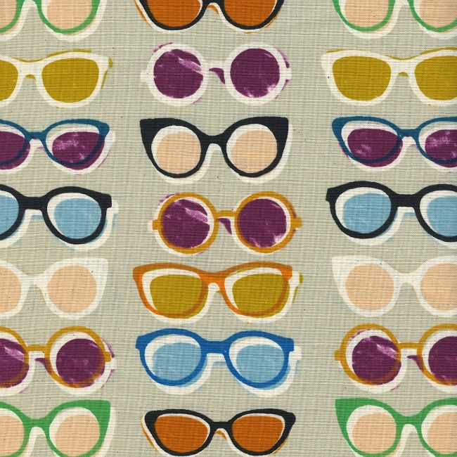 PD's Cotton + Steel Collection Poolside, Shade in Natural Unbleached Cotton, Dinner Napkin
