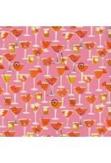 Cotton + Steel Poolside, Shaken in Pink Unbleached Cotton, Fabric Half-Yards 6010-001