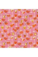 PD's Cotton + Steel Collection Poolside, Shaken in Pink Unbleached Cotton, Dinner Napkin