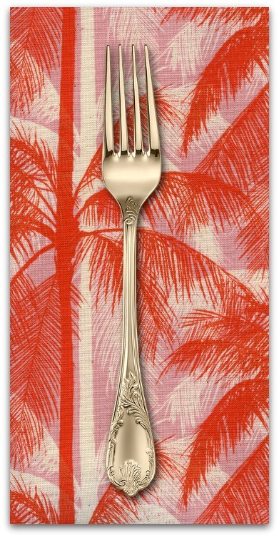 PD's Cotton + Steel Collection Poolside, Palms in Pink Unbleached Cotton, Dinner Napkin