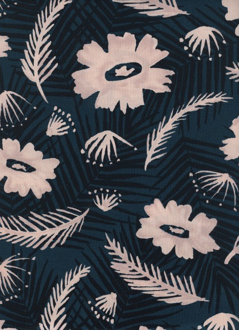 Cotton + Steel Rayon, Poolside, Palm Springs Bouquet in Blue, Fabric Half-Yards 6018-025