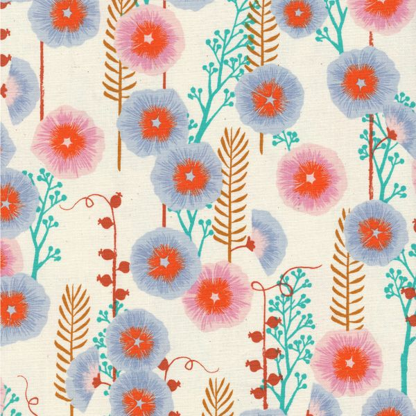 Sarah Watts Santa Fe, Hollyhocks in Natural Unbleached Cotton, Fabric Half-Yards S2062-002