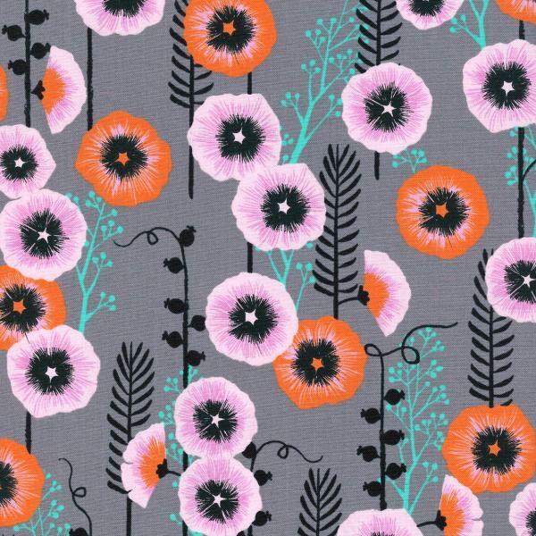 Sarah Watts Santa Fe, Hollyhocks in Grey, Fabric Half-Yards S2062-001