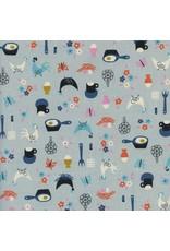 Kim Kight Welsummer, Kitchen Kitsch in Light Blue, Fabric Half-Yards K3058-001
