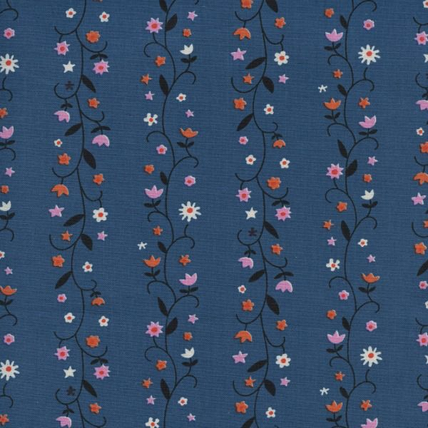 Kim Kight Welsummer, Daisy Vines in Denim, Fabric Half-Yards K3061-001