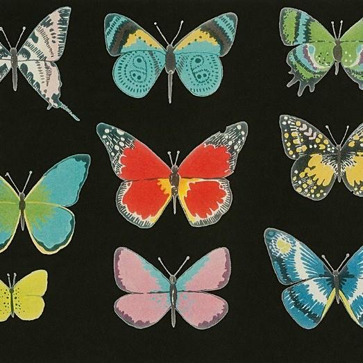 Alexander Henry Fabrics Folklorico, El Tiempo de Mariposa in Black Brite, Fabric Half-Yards 8617C