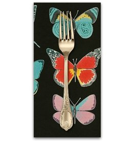 PD's Alexander Henry Collection Folklorico, El Tiempo de Mariposa in Black Brite, Dinner Napkin
