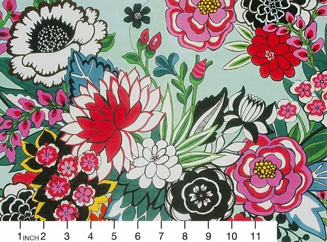 Alexander Henry Fabrics Folklorico, Garden at Coyoacan in Aqua, Fabric Half-Yards 8615A