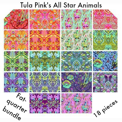 V & Co. Tula Pink All Stars, The Animal Collection - Fat Quarter Bundle 18 pcs.