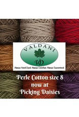 Picking Daisies Valdani Pearl Cotton Ball Size 8, 100% cotton, hand dyed thread, 73 yards