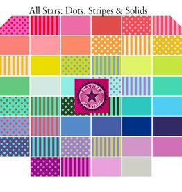 Tula Pink Tula Pink All Stars, Dots, Stripes and Solids Collection - Fat Quarter Bundle 46 pcs.