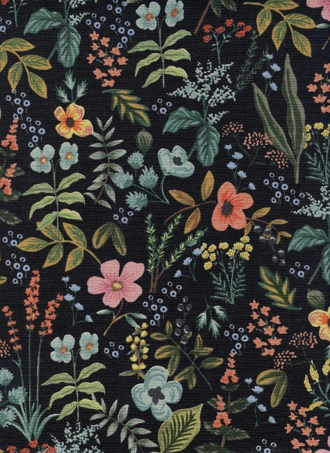 Rifle Paper Co. Linen/Cotton Canvas, Amalfi, Herb Garden in Midnight, Fabric Half-Yards AB8054-022