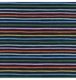 Rifle Paper Co. Cotton Lawn, Amalfi, Happy Stripes in Navy, Fabric Half-Yards AB8050-011