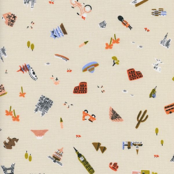 PD's Rifle Paper Co Collection Amalfi, Explorer in Natural Unbleached Cotton, Dinner Napkin