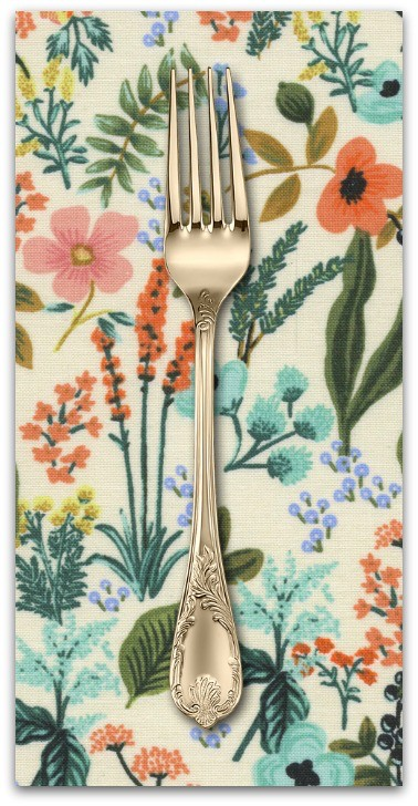 PD's Rifle Paper Co Collection Amalfi, Herb Garden in Natural Unbleached Cotton, Dinner Napkin