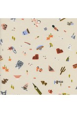 Rifle Paper Co. Amalfi, Explorer in Natural Unbleached Cotton, Fabric Half-Yards AB8043-001