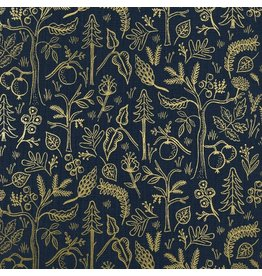 Rifle Paper Co. Amalfi, Black Forest in Navy with Metallic, Fabric Half-Yards AB8045-002