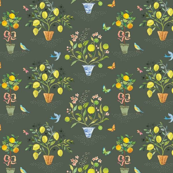 PD's Blend Fabrics Collection Limonella, Orangerie in Grey, Dinner Napkin