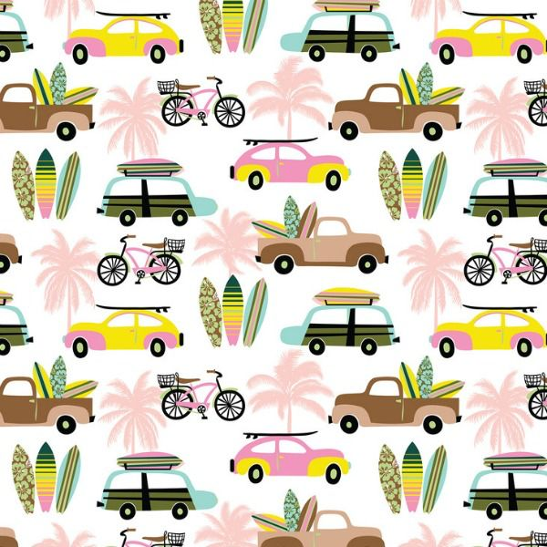PD's Blend Fabrics Collection Aloha, Hit the Beach in White, Dinner Napkin