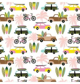 Blend Fabrics Aloha, Hit the Beach in White, Fabric Half-Yards 114.118.01.1