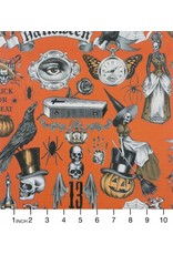 PD's Alexander Henry Collection Haunted House, Trickery in Orange Halloween, Dinner Napkin