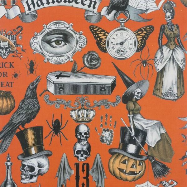 Alexander Henry Fabrics Haunted House, Trickery in Orange Halloween, Fabric Half-Yards 8512D