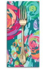 PD's Moda Collection Painted Garden, Blooms in Turquoise, Dinner Napkin