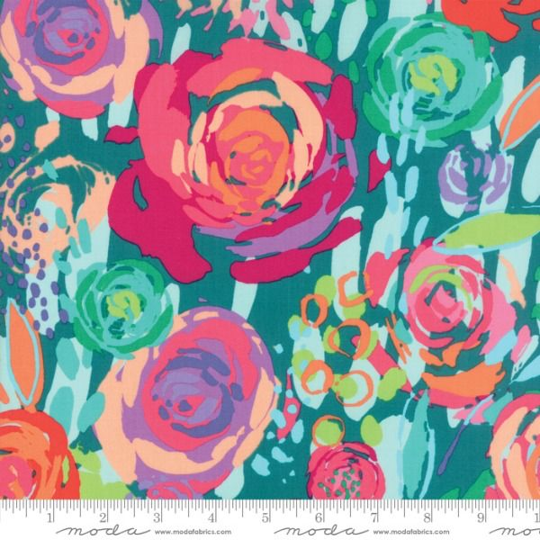 Moda Painted Garden, Blooms in Turquoise, Fabric Half-Yards 11810 17
