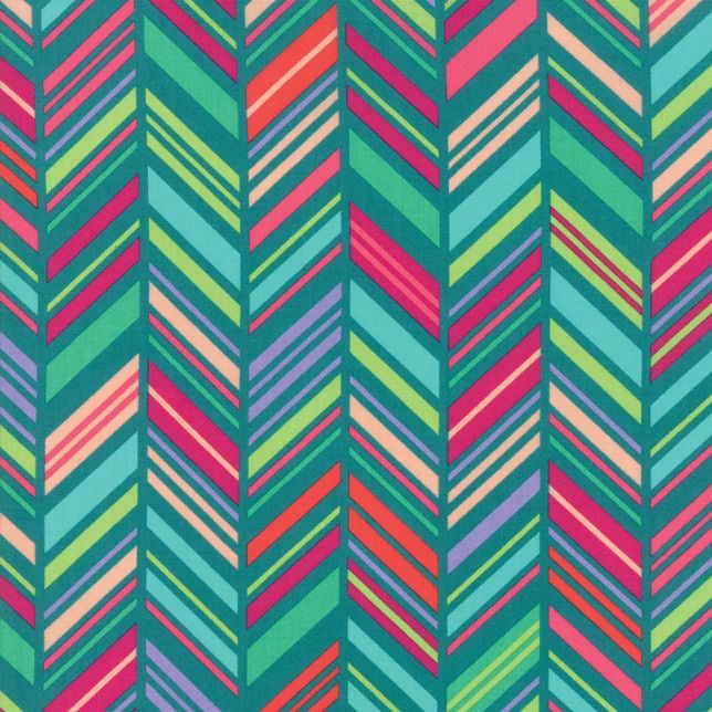 Moda Painted Garden, Chevron Stripe in Turquoise, Fabric Half-Yards 11813 17