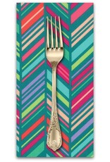PD's Moda Collection Painted Garden, Chevron Stripe in Turquoise, Dinner Napkin