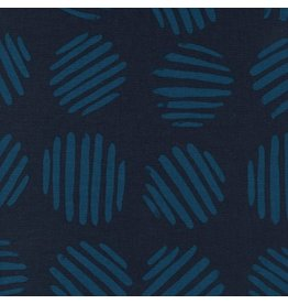 Cotton + Steel Panorama, Coin Dots in Deep Sea Unbleached Cotton, Fabric Half-Yards  C5175-003