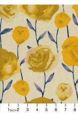Cotton + Steel Firelight, Roses in Yellow Unbleached Cotton, Fabric Half-Yards  C5179-002