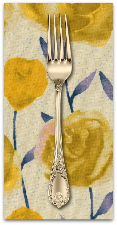 PD's Cotton + Steel Collection Firelight, Roses in Yellow Unbleached Cotton, Dinner Napkin