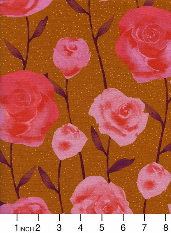 PD's Cotton + Steel Collection Firelight, Roses in Caramel, Dinner Napkin