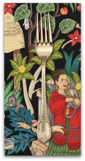 PD's Alexander Henry Collection Folklorico, Fridas Garden in Black, Dinner Napkin